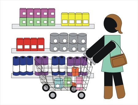 woman shopping in a supermarkets Vector