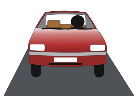 man driving a red car on the road Stock Vector - 9692584