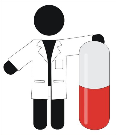 pharmaceutical holding a large capsule Stock Vector - 9692595