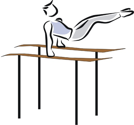 athlete exercising in the parallel bars Illustration