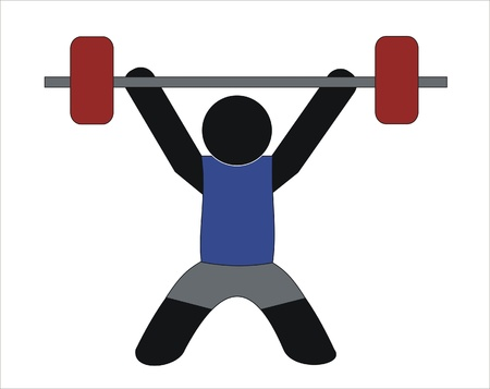 levantamento de pesos: athlete lifting weights in a weight-lifting exercise Ilustra��o