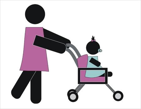 lactancia materna: mujer caminando a su hija en el carro de beb�