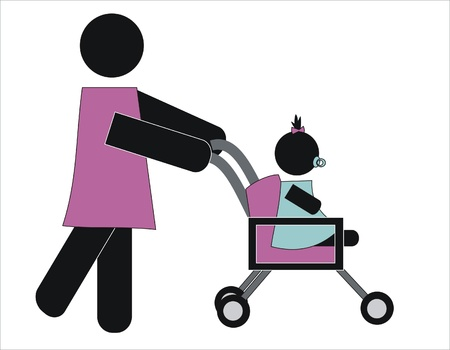 descendants: woman walking her daughter in baby carriage
