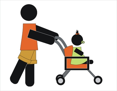 man  walking her daughter in baby carriage Vector