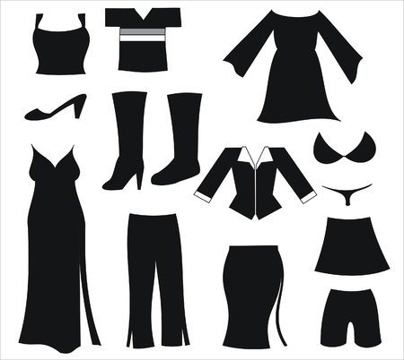 womens clothing: icons representing various womens clothing and footwear