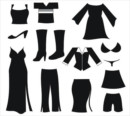 Pictogrammen die vertegenwoordigen verschillende womens kleding en schoeisel Stockfoto - 9692600