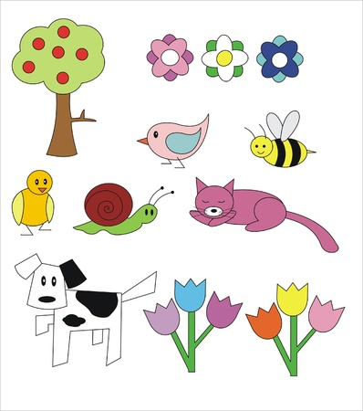 several childrens drawings of animals and plants Stock Vector - 9692597