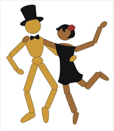 sweat: couple of doll happily dancing