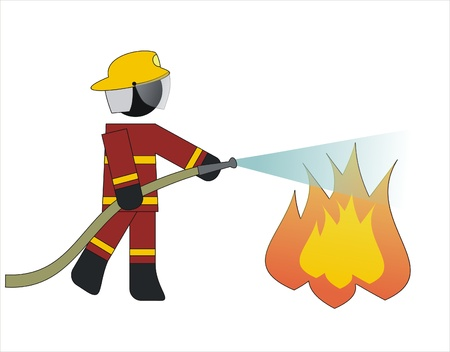 Firefighter put out a fire with water Ilustração