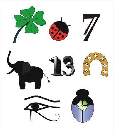 good luck icons drawn of different colors Vector
