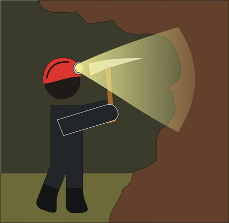 flashlight: miners working in the mine with great effort Illustration