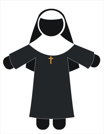cat�licismo: monja con su vestido y un crucifijo Vectores