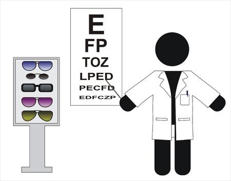 optometrist: Optical optometrist doing a visual test  Illustration
