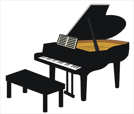 drawing of a grand piano with seat