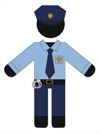 security uniform: hombre de polic�a en uniforme trabajo Vectores