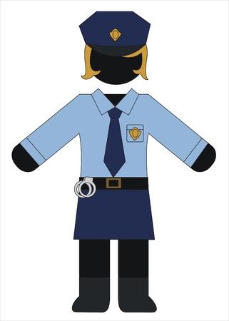 police woman in uniform working Vector