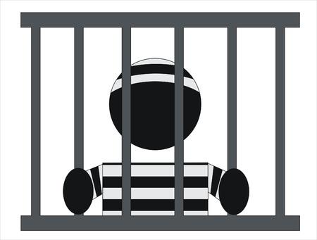 détenu dans la prison derrière les barreaux de sa fenêtre