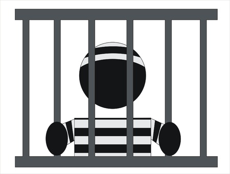 inmate in jail behind bars of his window Stock Vector - 9692605