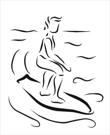 sportman: sportman surfing in the sea Illustration