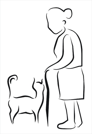 old woman with her cat Vector Illustration