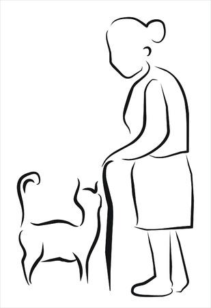 Stara kobieta ze swoim kotem Ilustracje wektorowe