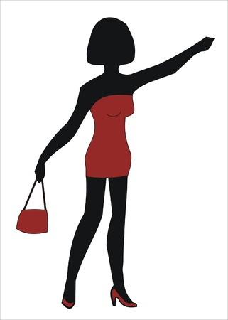 prostitute in a red dress with red bag Illustration