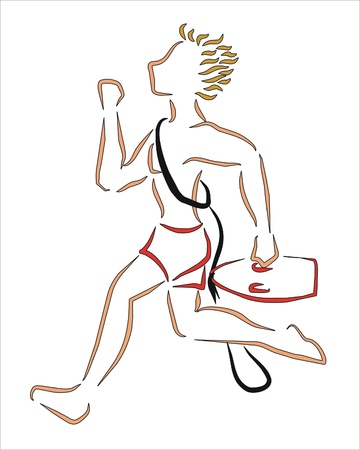 sportwoman: a lifeguard running to save someone Illustration
