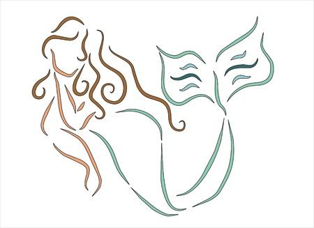 cola mujer: Sirena nadando en el mar Vectores