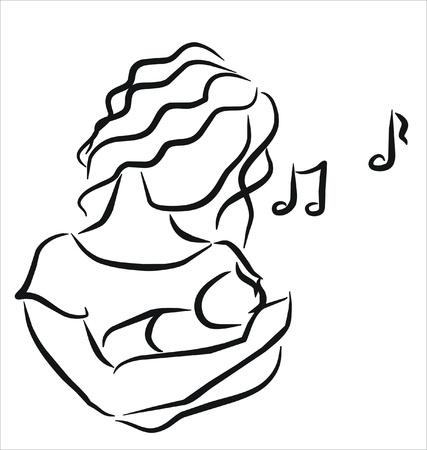 lullaby: madre cantando una canci�n de cuna para su beb� Vectores
