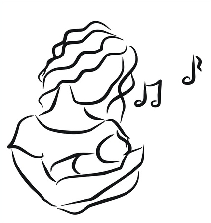 mother singing a lullaby to her baby Stock Vector - 9882006