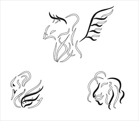 chimeras drawing in black and white Vector
