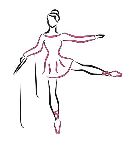 isolatd: ballerina dancing with pink dress