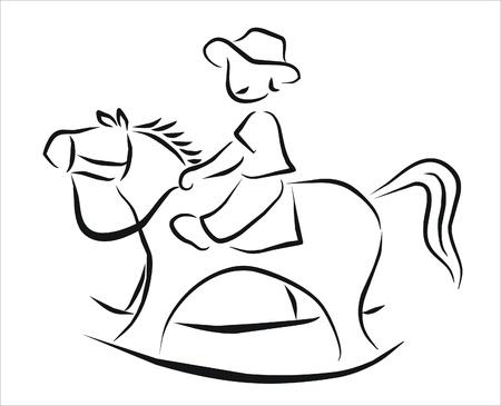 schommelpaard: jongen spelen op een hobbelpaard
