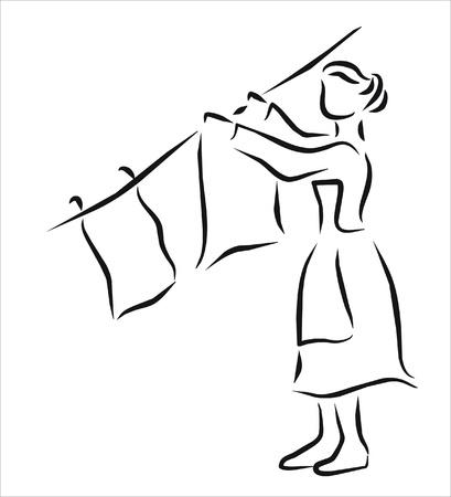 laundry washer: mujer de suspensi�n en la lavander�a