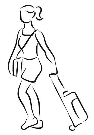 femme valise: femme avec une valise d'aller à l'aéroport Illustration