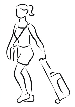 woman with suitcase going to the airport