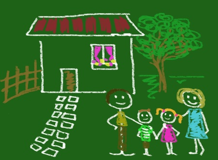 descendants: happy family in front of his home