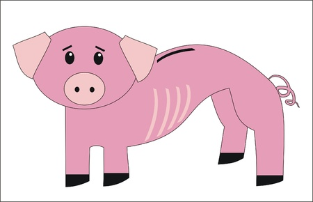 thinness: very thin piggy bank Illustration