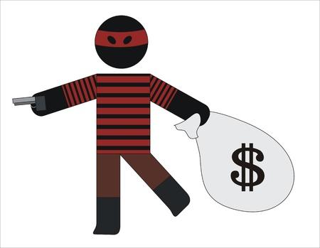 delincuencia: armados ladrón tomar dinero Vectores