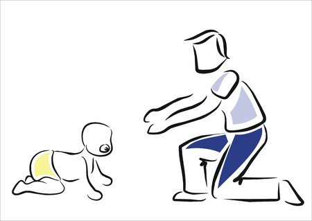 father encouraging to his baby to walk