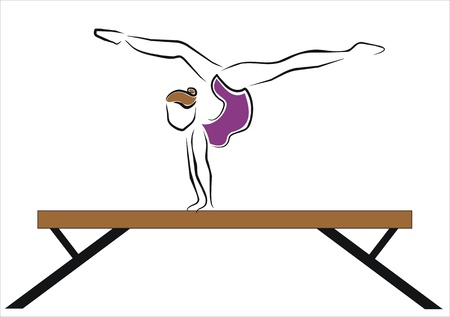woman doing an exercise, on the bar Vector