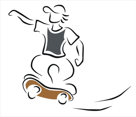 boy riding his skateboard Stock Vector - 11218402