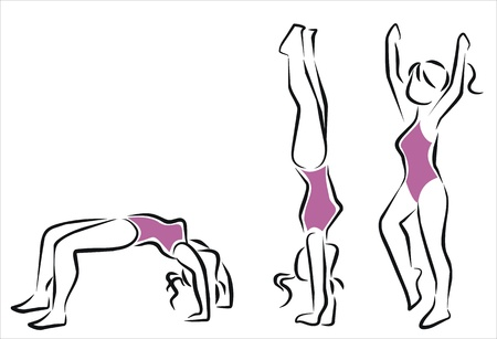 woman doing a handstand Illustration