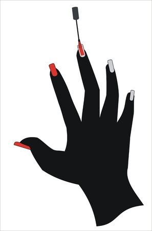 cosmetic lacquer: painting the fingernails Illustration