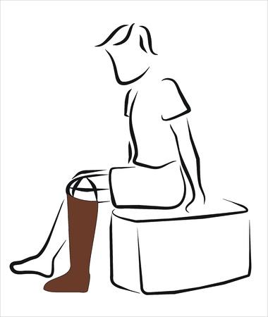 ortopedia: hombre con una pierna ortopédica Vectores