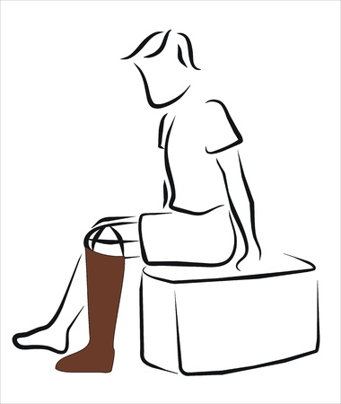 traced: man with a prosthetic leg Illustration