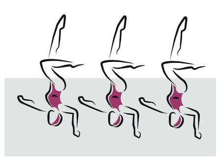 vrouwen die synchroon zwemmen oefening