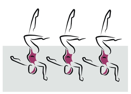 synchronized: women doing synchronized swimming exercise Illustration