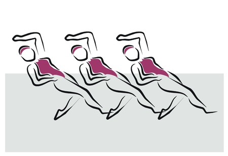 nataci�n sincronizada: las mujeres que realizan ejercicio de nataci�n sincronizada