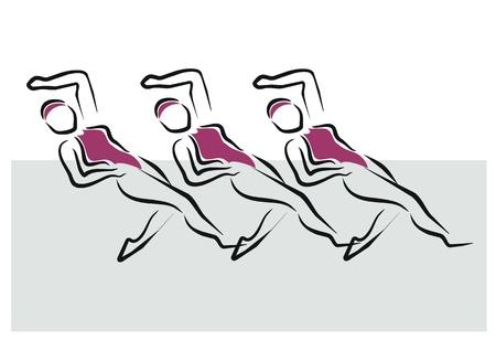 women doing synchronized swimming exercise Stock Vector - 11218410